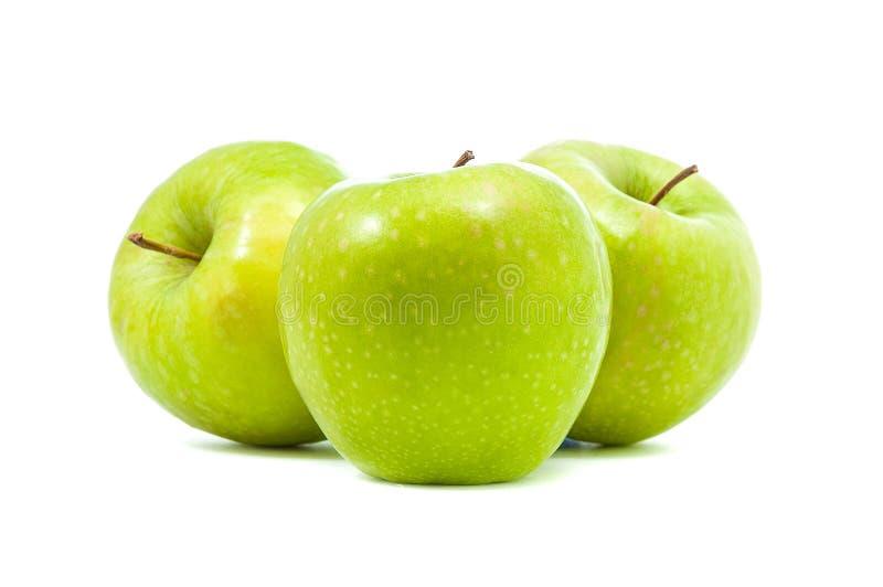 Three green apples royalty free stock photo