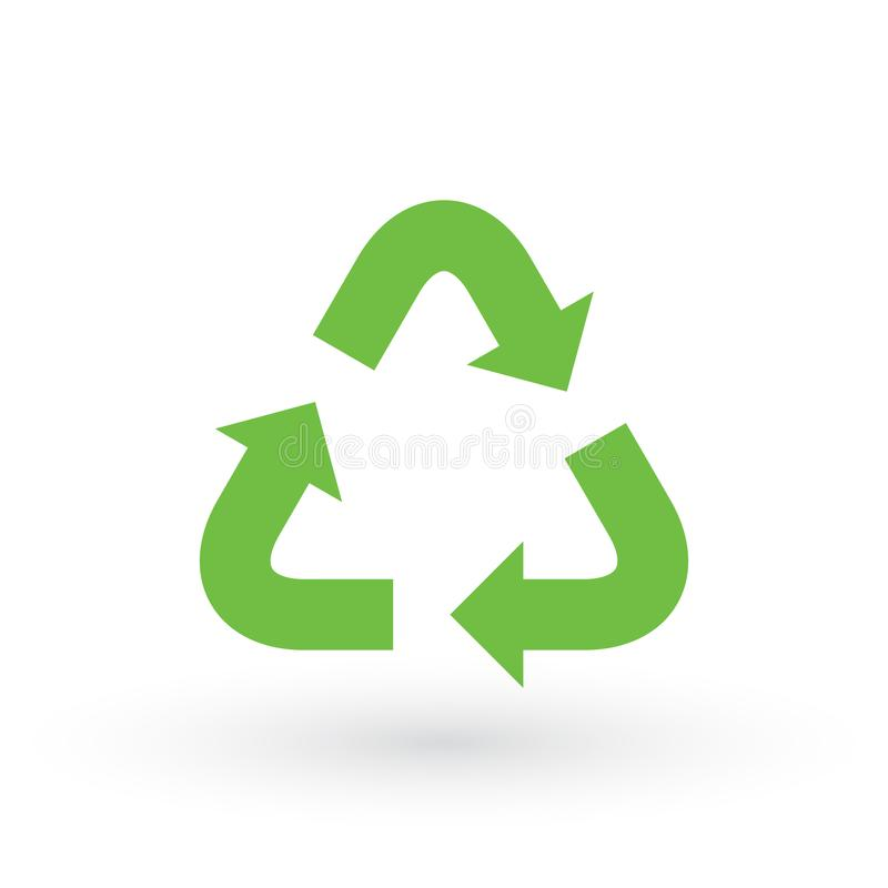 Three green arrows with. eco recycle icon. eco sign isolated on white background. Vector reuse illustration. Green flat symbol vector illustration