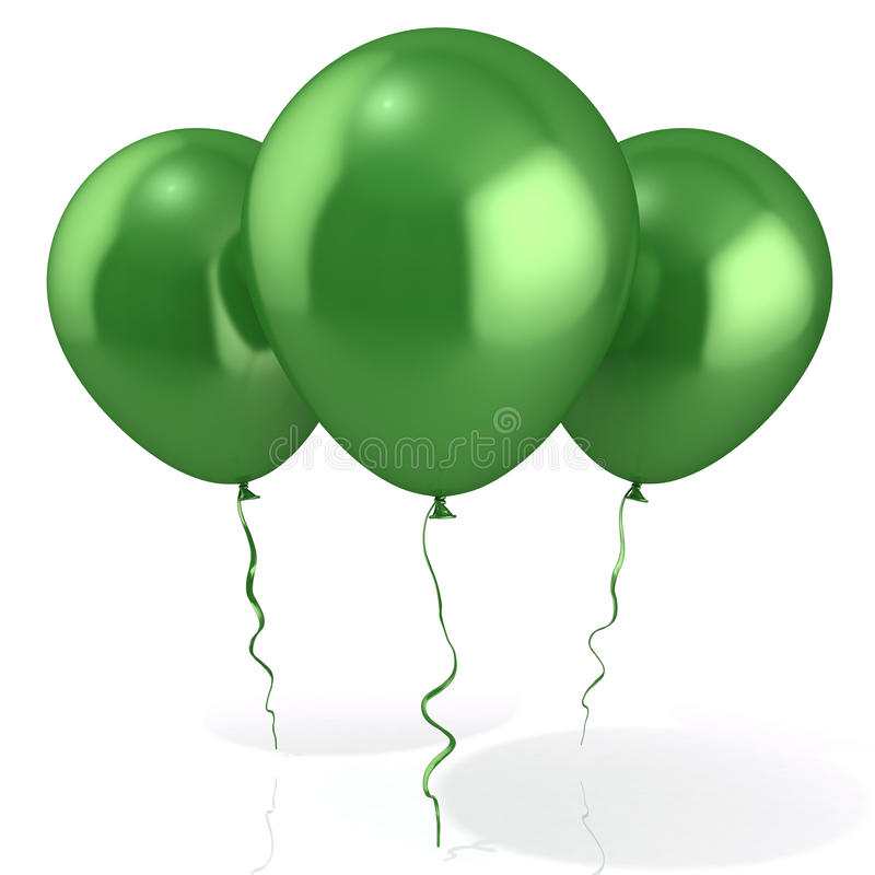Three green balloons stock illustration