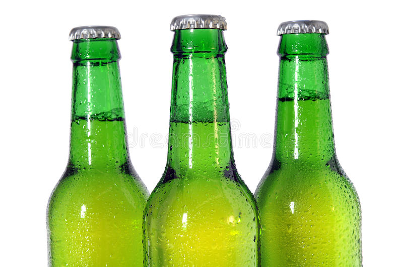 Three Green Beer Bottles stock photography