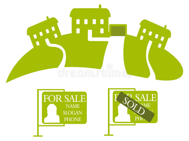 Three Green Houses - Vector Royalty Free Stock Image