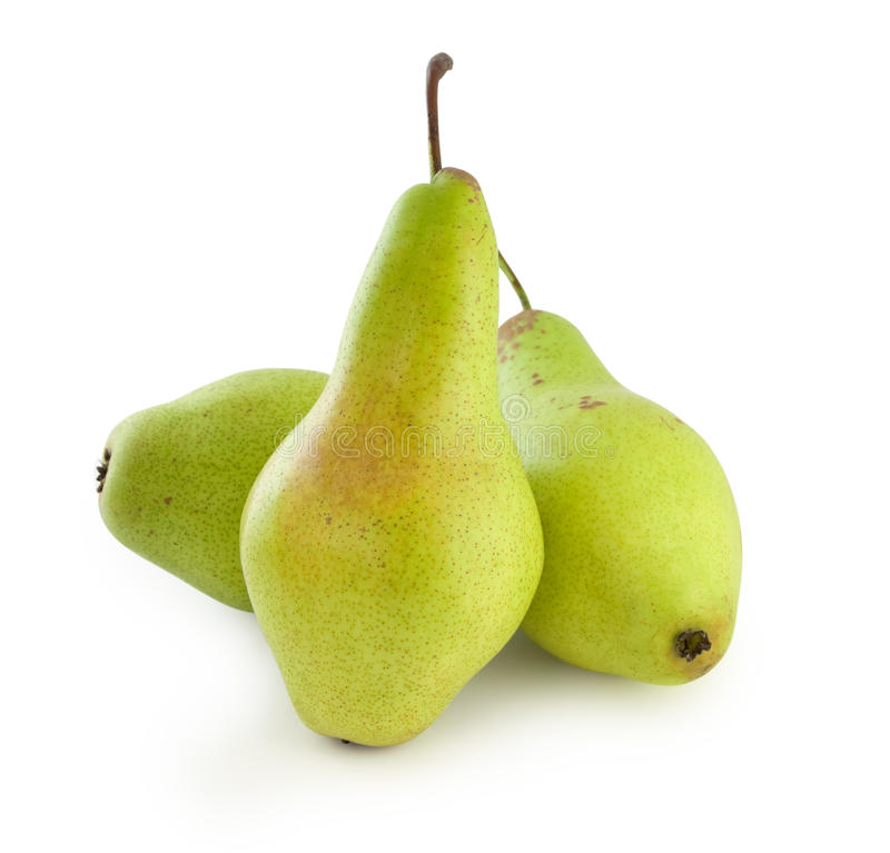 Three green pears royalty free stock photo
