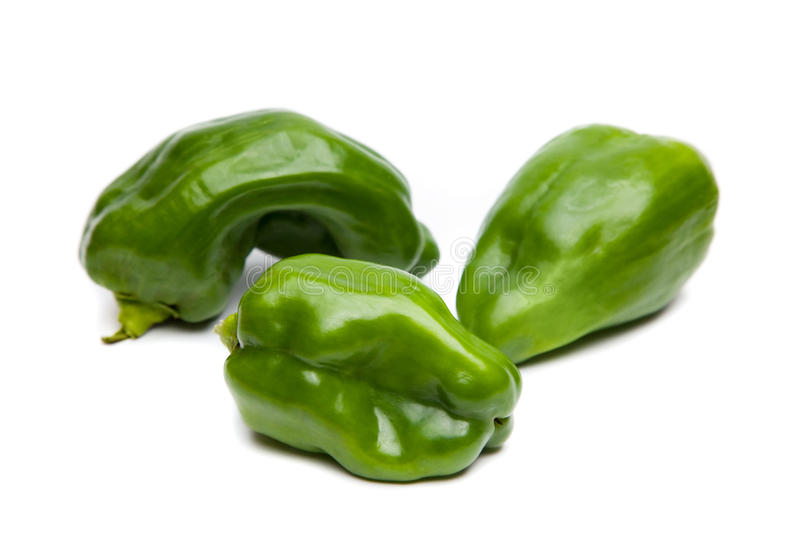 Three Green Peppers stock photos