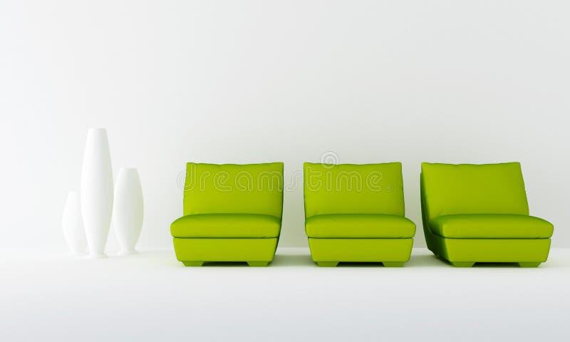 Three green seat in waiting room vector illustration