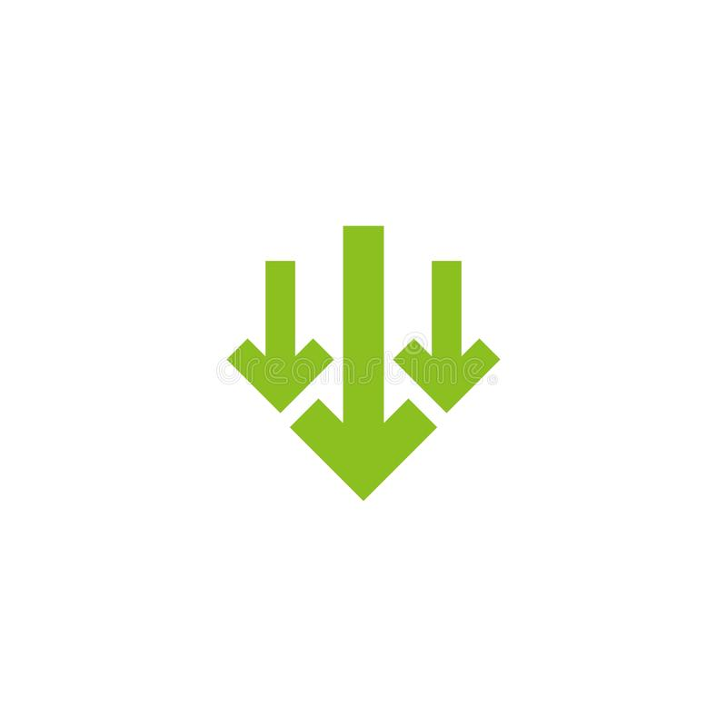 Three green squared arrows down icon. download sign. Fall, decrease stock illustration