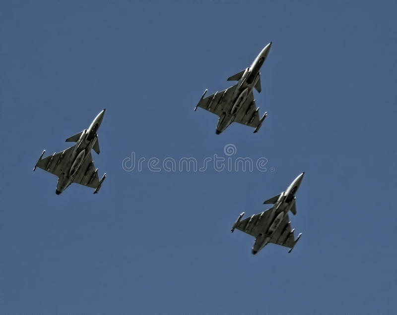 Three Gripen Fighter Jets in formation. Armed Forced Day in South Africa 2016 royalty free stock photo