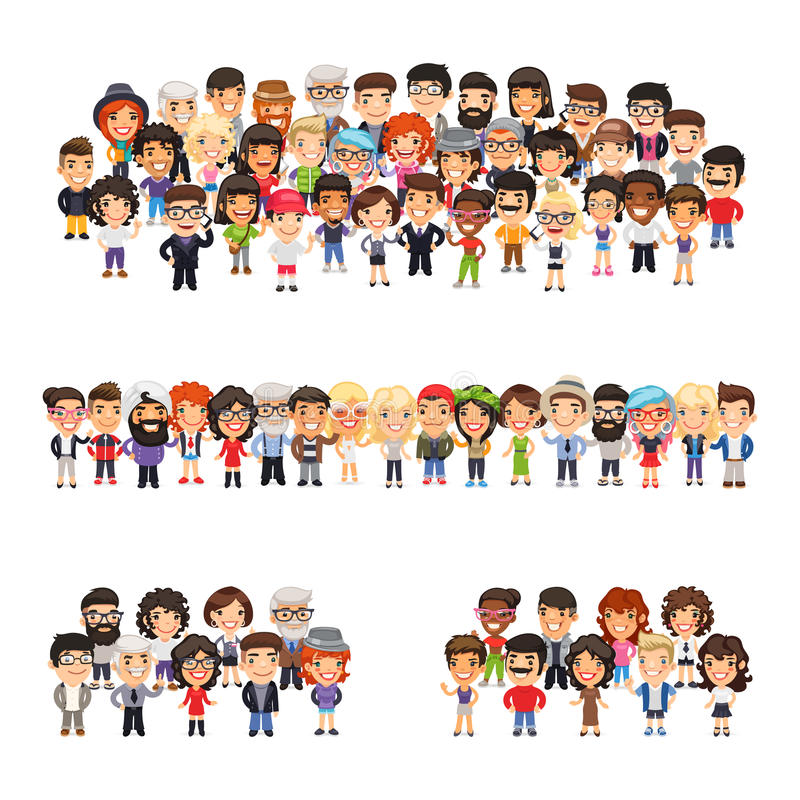 Three Group of People. Tree big group of casually dressed flat cartoon people. Isolated on white background. Clipping paths included stock illustration