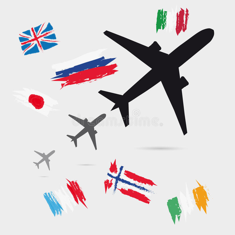 Three Growing Airplane Silhouette With Little Flags vector illustration