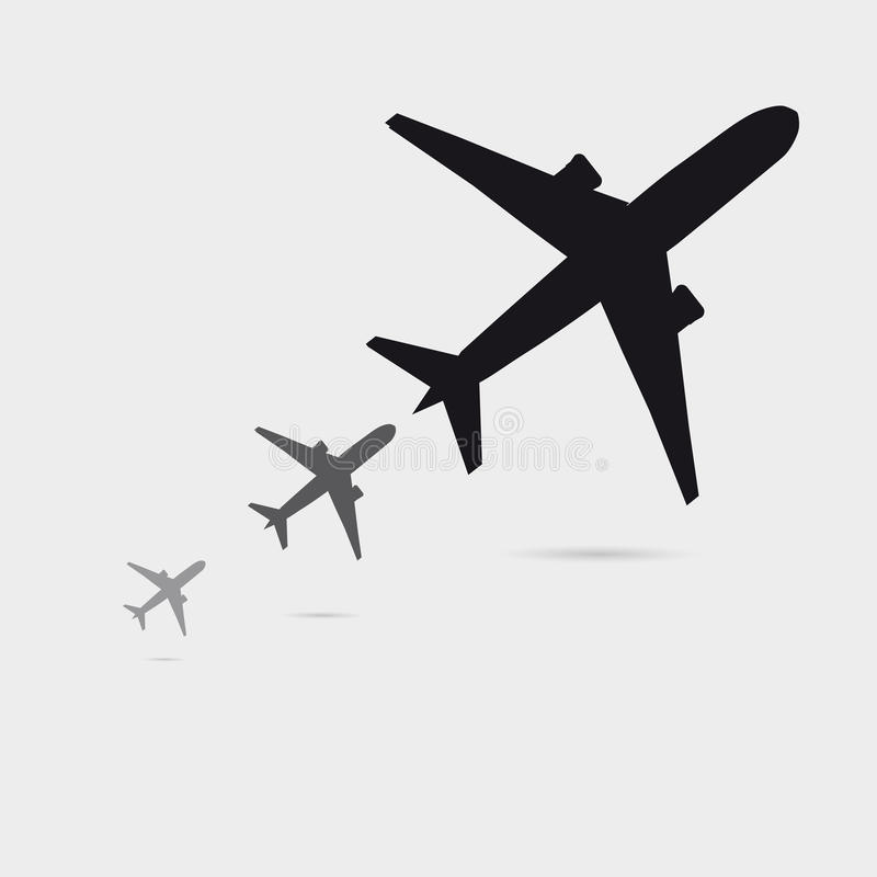 Three Growing Airplane Silhouette With Little Shadow, Can Be Used As A Black Poster vector illustration