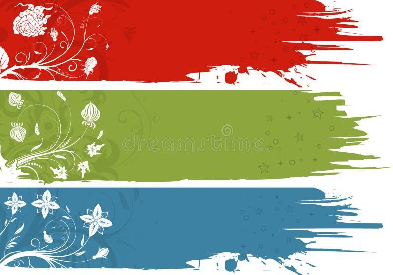 Three grunge flower background vector illustration