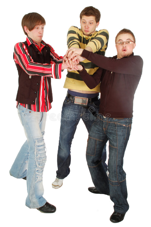 Download Three Guys Keeping Something In Their Hands Stock Image - Image of happiness, beauty: 5407113
