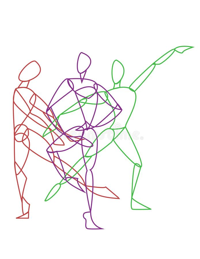 Three gymnasts or dancers posing. In red purple and green colors . Dance logo. Gymnastic logo royalty free illustration