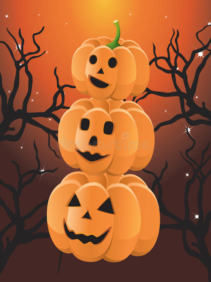 Free Three Halloween Pumpkin Royalty Free Stock Photography - 21016017