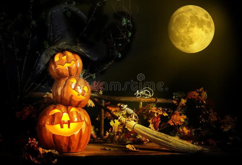 Three Halloween Pumpkins and Skeleton Mice royalty free stock photography