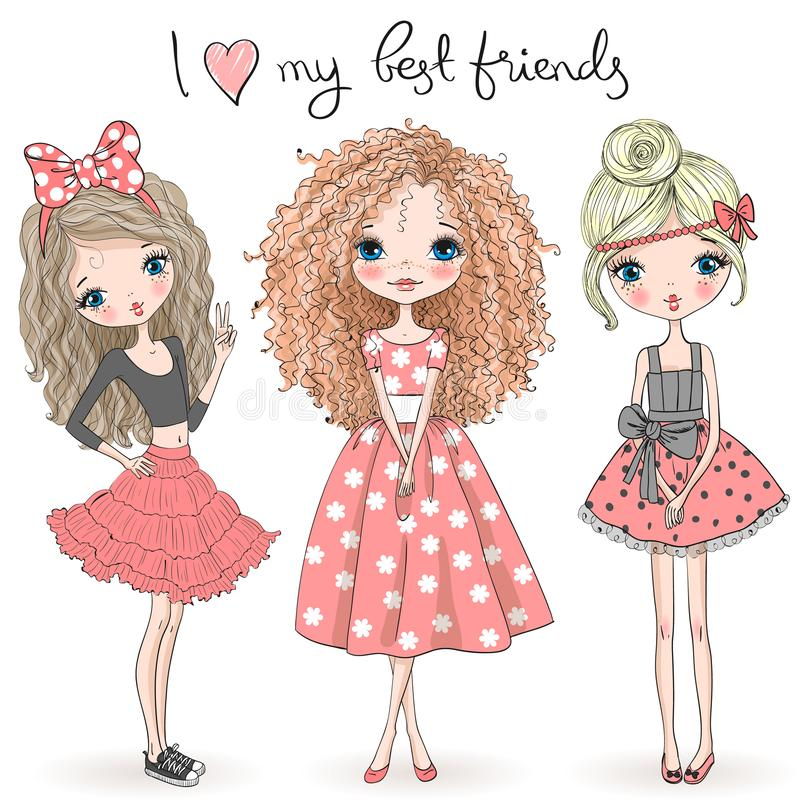 Free Three Hand Drawn Beautiful Cute Girls On The Background With The Inscription I Love My Best Friends. Royalty Free Stock Photography - 125917597