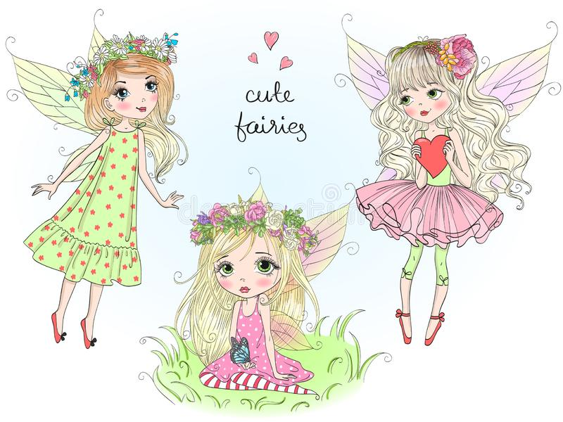 Three beautiful cute little fairies girls with butterfly wings. Vector illustration. vector illustration