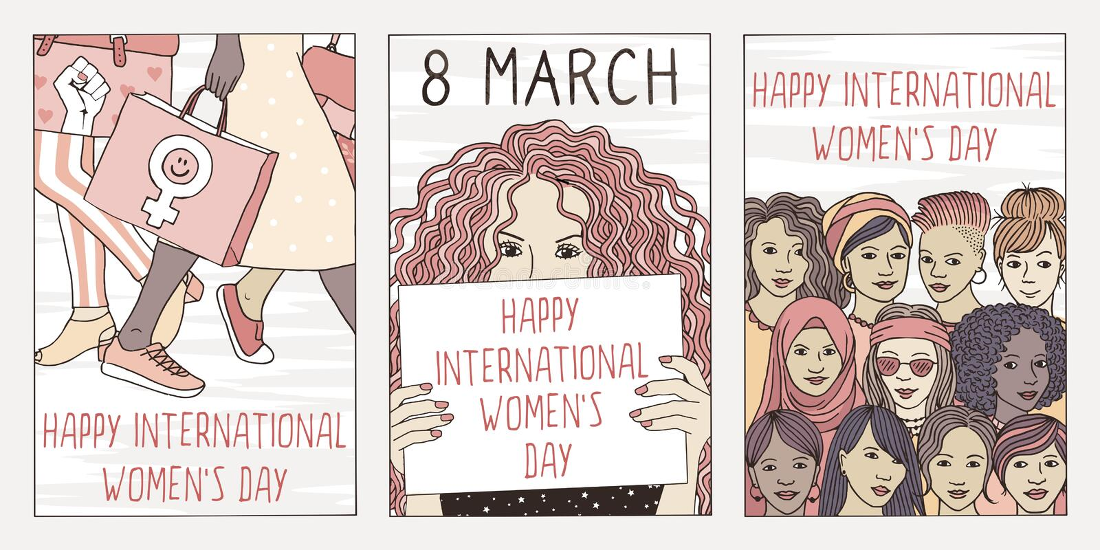 Three hand drawn postcards for international women`s day. Set of three hand drawn posters or postcards for international women`s day, showing portraits of royalty free illustration
