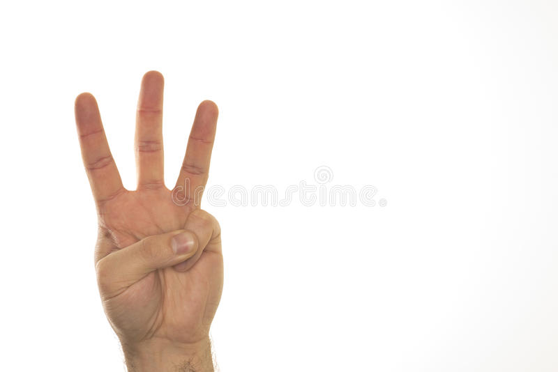 Three fingers on one hand against white background. stock photos
