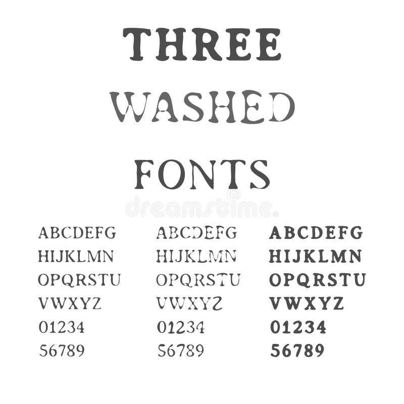 Three Handdrawn Fonts. Washed Latin Alphabet Set. Ink Typefaces. stock illustration