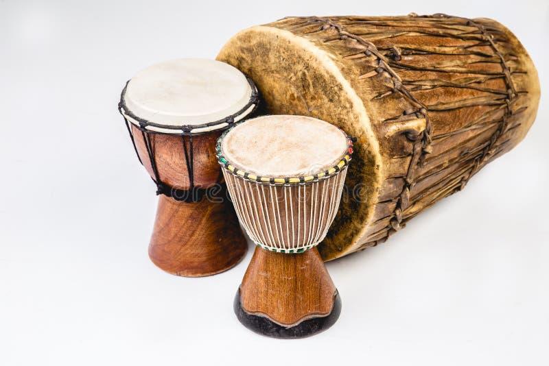 Three Handmade Djembe drums stock photography