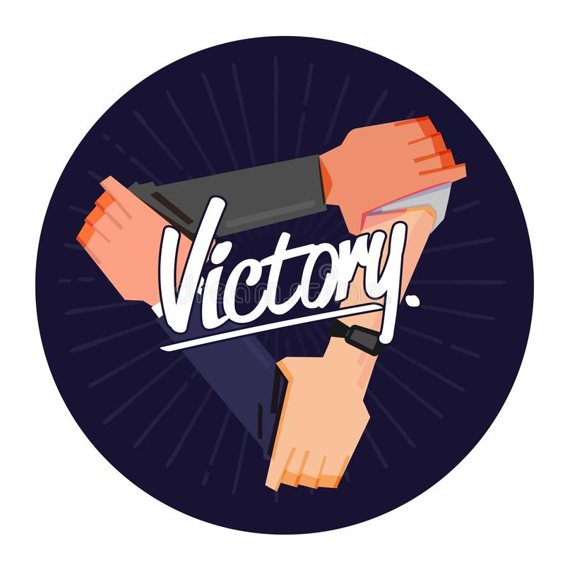 Three hands holding each other strongly with Victory - vector illustration vector illustration