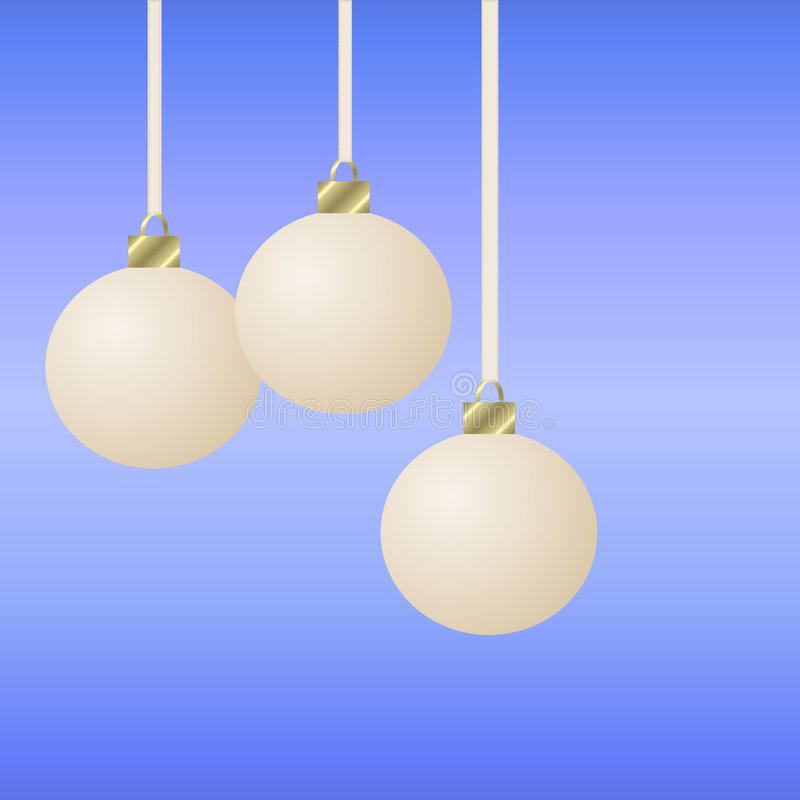 Three Hanging White Christmas Ornaments Royalty Free Stock Photos