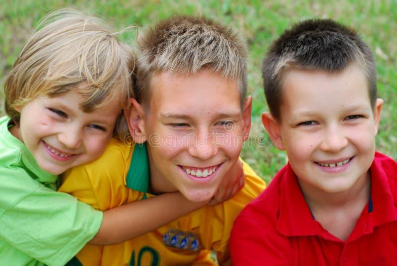 Three happy boys royalty free stock images