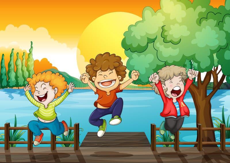 Three happy boys at the wooden bridge. Illustration of the three happy boys at the wooden bridge vector illustration