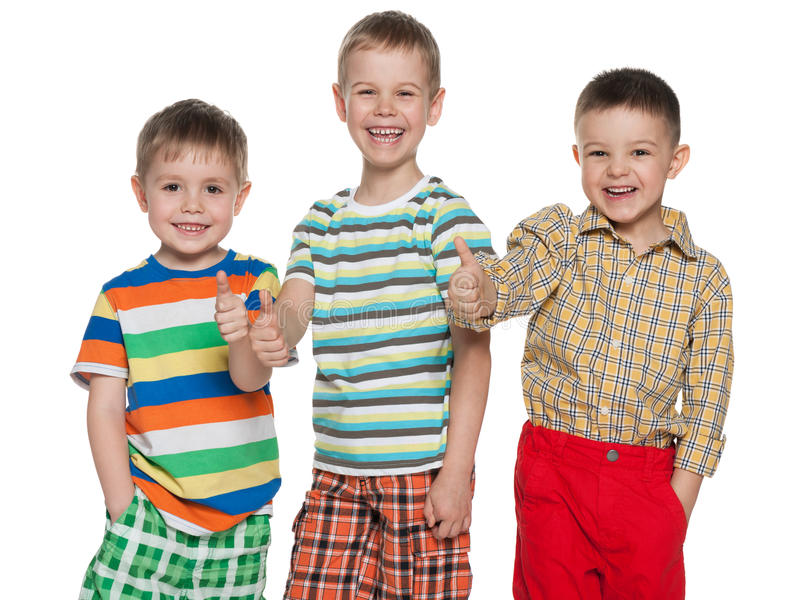 Download Three Happy Cute Boys Holding Thumbs Up Stock Image - Image: 30615005