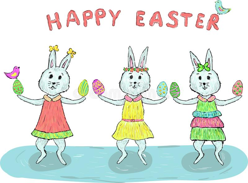 Three happy easter rabbits girl with eggs and two colored birds stock illustration