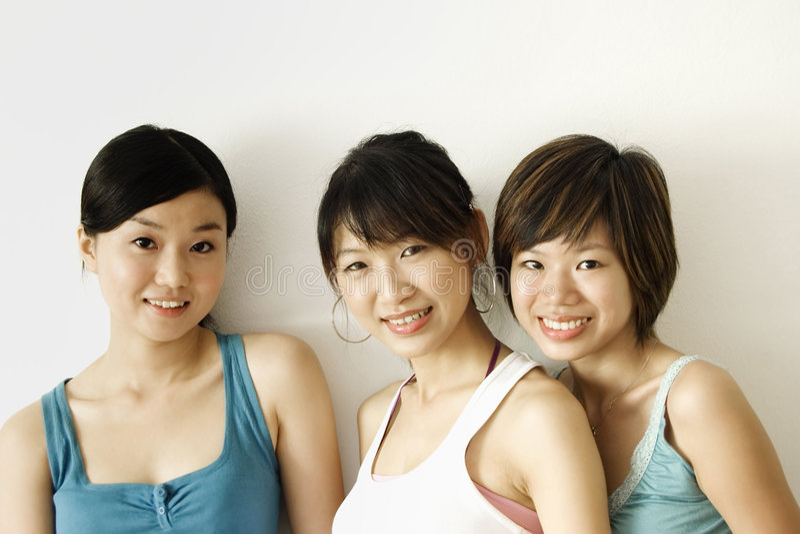 Three happy girls stock photos