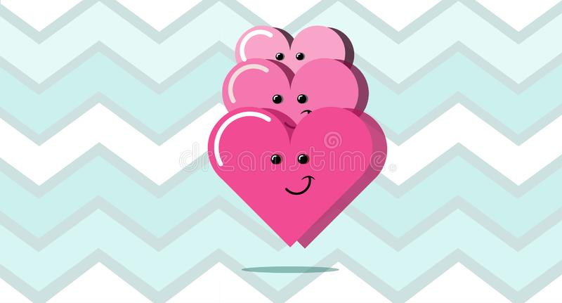 Three happy red hearts on an abstract linear blue background. Vector illustration royalty free illustration