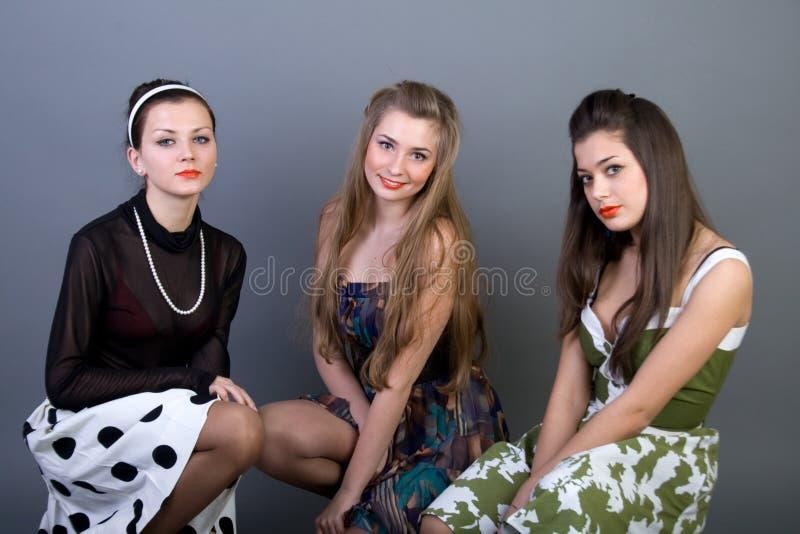 Download Three Happy Retro-styled Girls Stock Image - Image of closeup, human: 13886129