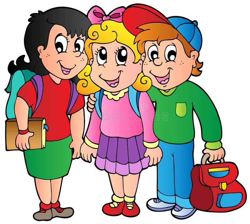 Three happy school kids royalty free illustration