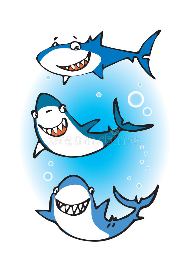 Three happy sharks royalty free stock photo