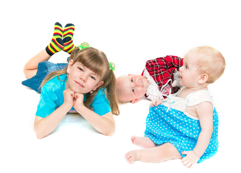 Download Three happy sisters stock image. Image of kids, happy - 9440343