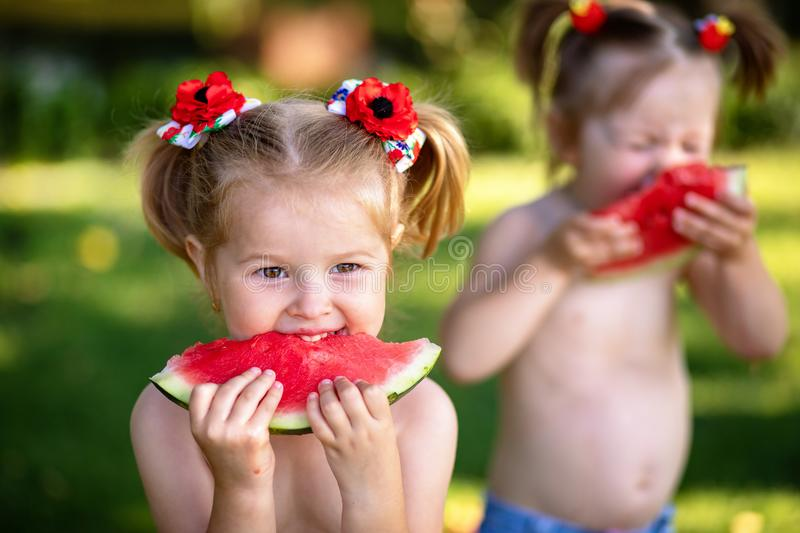 Three happy smiling child eating watermelon in park. Summer healthy food. stock photos