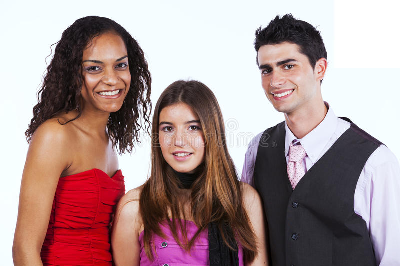 Three happy teenagers stock photography