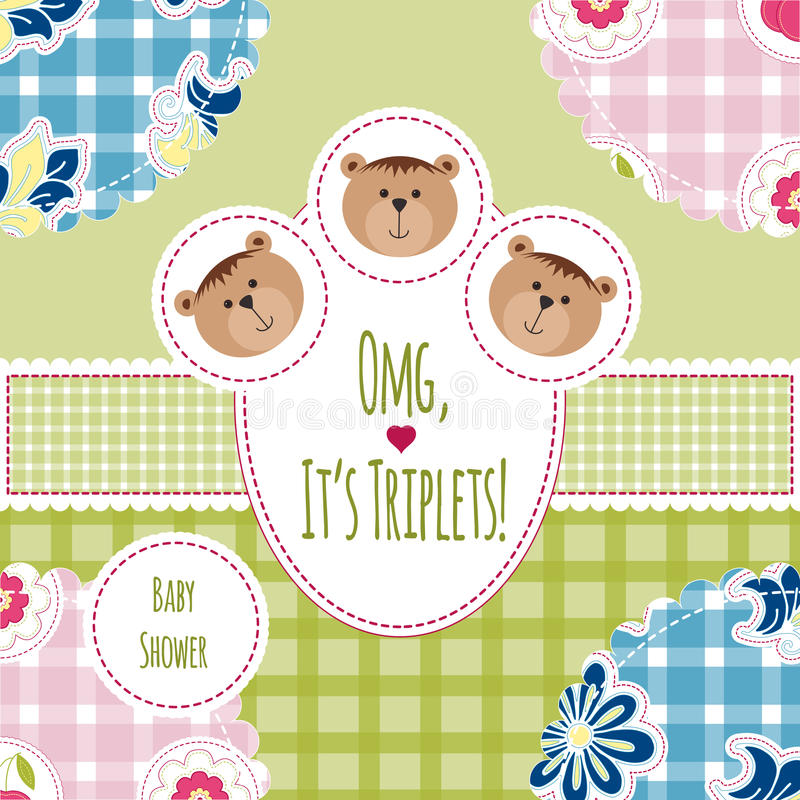 Three happy triplets. Baby arrival announcement card. Triplets baby girls and boys shower card, cute newborn. Teddy bears, kid sty stock illustration