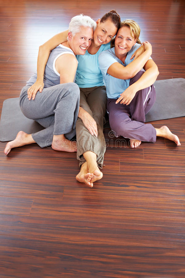 Download Three happy women in gym stock photo. Image of group - 16957974