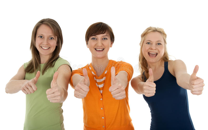 Download Three Happy Young Women Giving Thumbs Up Stock Photography - Image: 9438052