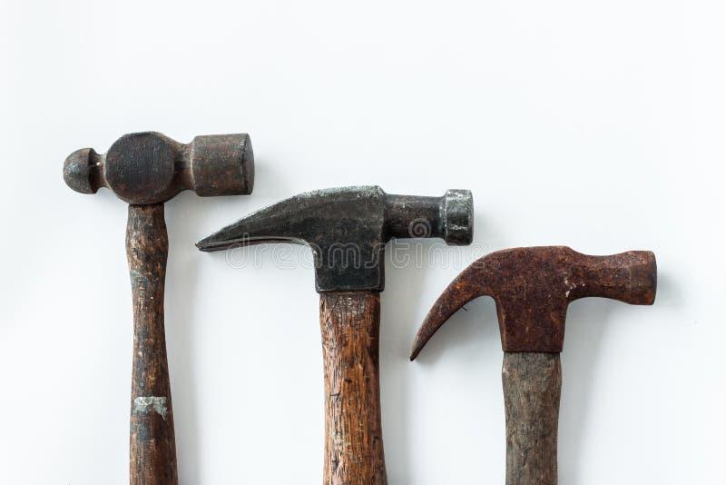 Three head vintage hammer on white background royalty free stock image