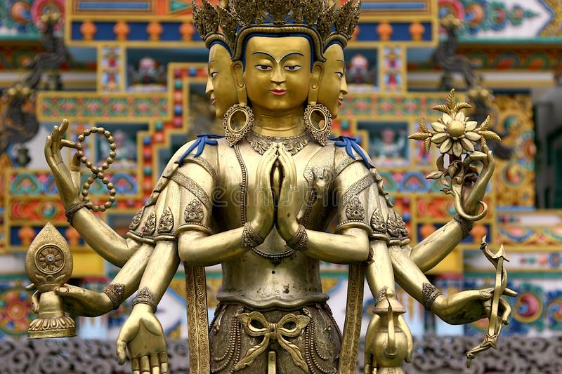 Three headed Buddha stock image