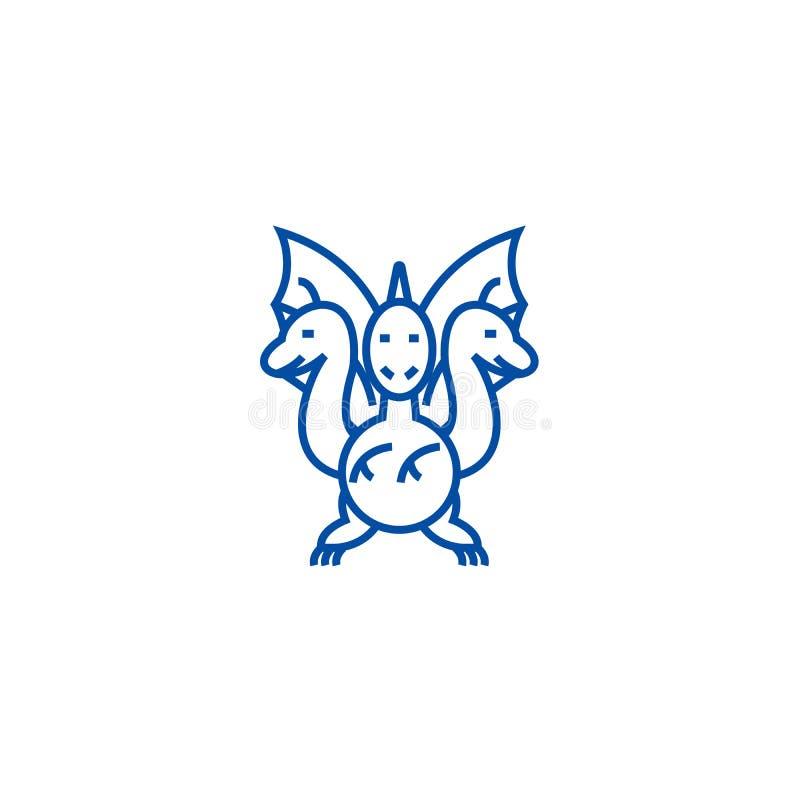 Three headed dragon  line icon concept. Three headed dragon  flat  vector symbol, sign, outline illustration. royalty free illustration