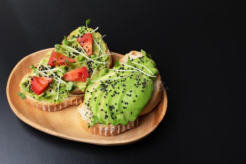 Three healthy toasts stock images