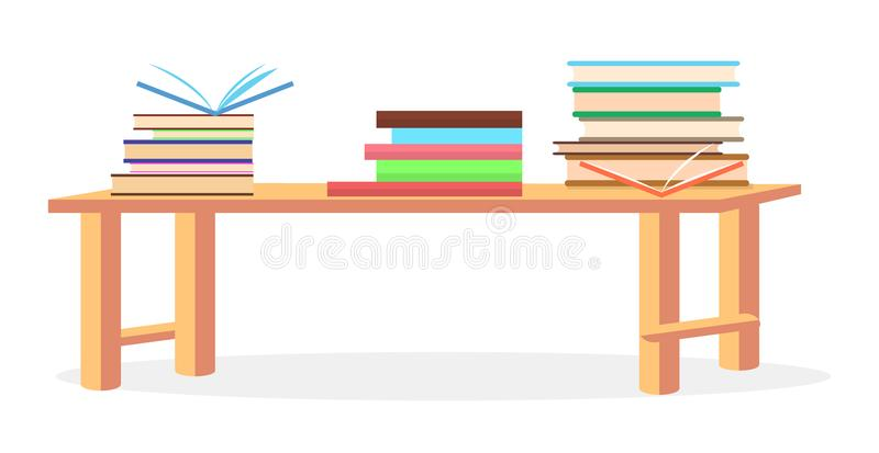 Three Heaps of Literature Lying on Table Closeup. Three heaps of literature with open and closed books lying on table vector illustration on white background stock illustration