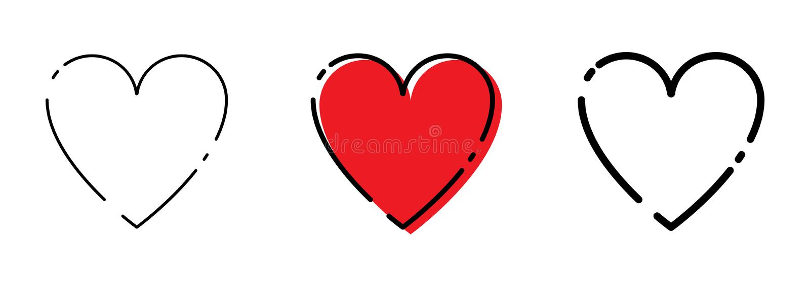Three Heart icons Red and Black Color in trendy flat style. Hearts icons vector illustration