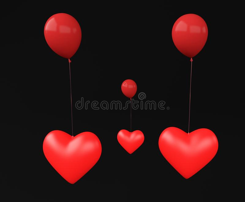 Three heart red. Heart with ballon color red 3d royalty free illustration