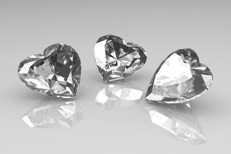 Three heart shape brilliant diamond stones stock illustration