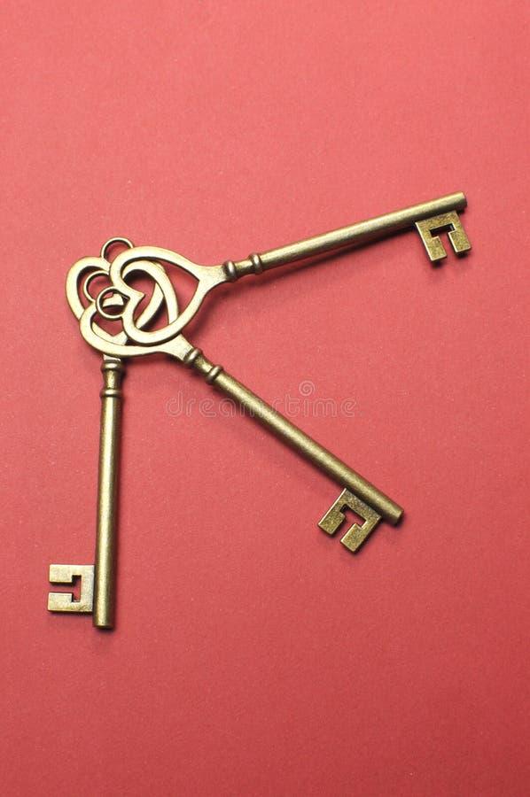 Three Heart Shape Gold Keys - Vertical. Stock Images
